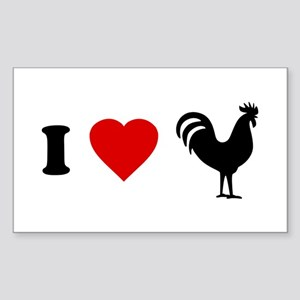 I Love [Heart] Cock Rectangle Sticker